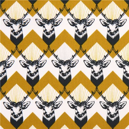 Tissu laminé Echino Decoro Stag en coton satiné, cerfs-jaune - Toiles cirées…