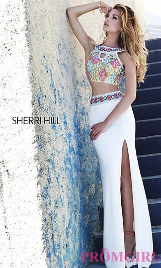 Long Two Piece Sherri Hill Prom Dress at PromGirl.com