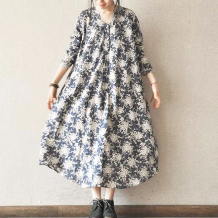 Blue Big Floral Dress Lovely Long Shirt Fashion Women Clothes LR456