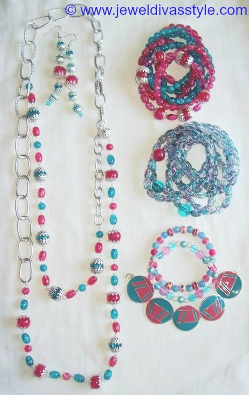 JDS - JEWEL DIVAS PINK & BLUE BEAD JEWELLERY SET