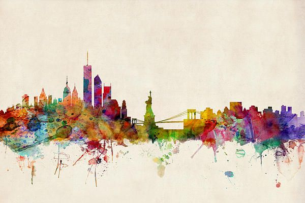 New York Skyline Nyc Skyline And Watercolor Print