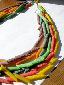 Keep the kids busy while you make Thanksgiving dinner with these Native American noodle necklaces.