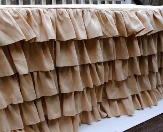 Linen Ruffled Tablecloth by PaulaAndErika on Etsy, $360.00
