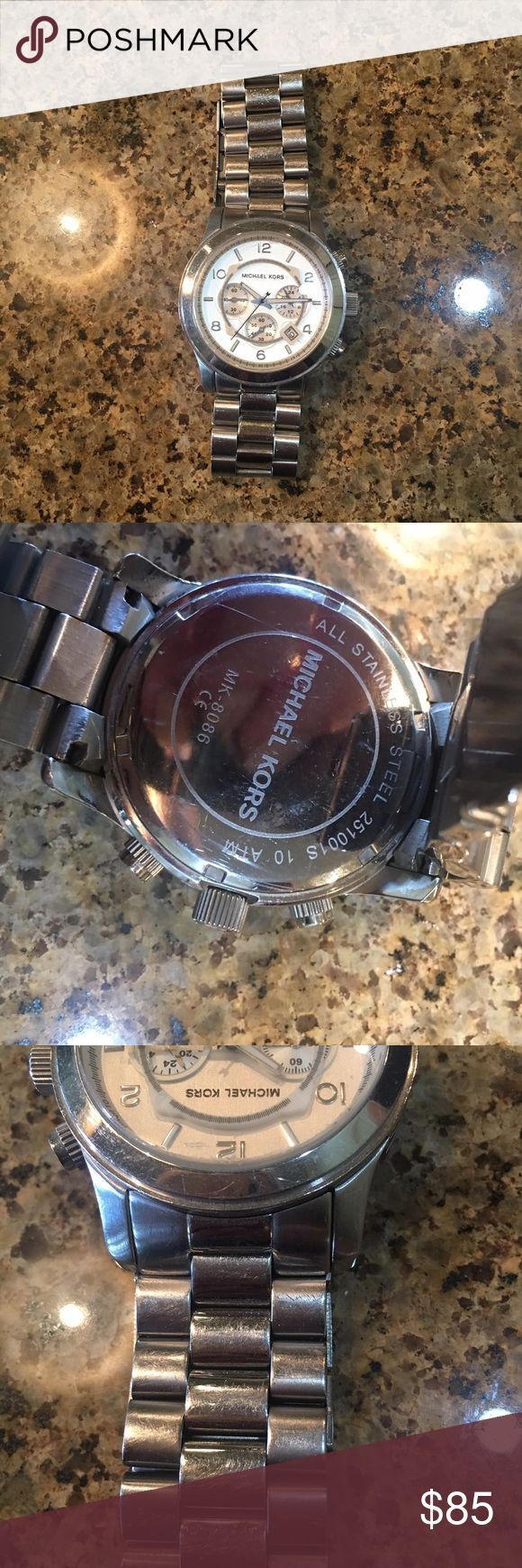 Michael Kors Men's Oversized Watch MK 8086 Metal-Silveryone. Stainless steel bracelet watch. 45 mm high. Water resistant. Has some scratches/tarnish, but still in good condition. KORS Michael Kors Accessories Watches