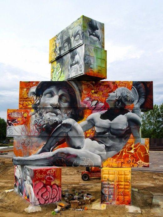 Οι Έλληνες θεοί, γκράφιτι σε κοντέινερς