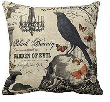 HLPPC Accent Pillows for Sofa Modern Vintage Halloween Crow and Skull Pillows Cove Pillow Protector 16 x 16 Inches Halloween 2017 promises to be more creepy, spooky and haunted than ever. Therefore, consider using unique, cool and trendy Halloween accent pillows. These will add fun, life and ambiance to your Halloween home décor theme. These make great Halloween interior design ideas for 2017.