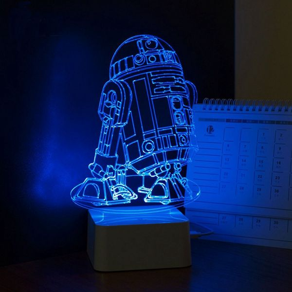 Colorful 3d Visual Led Robot Night Light Touch Usb Table Lamp Decor For Kid Bedroom Led Night Lamp Robot Night Light Star Wars Lamp