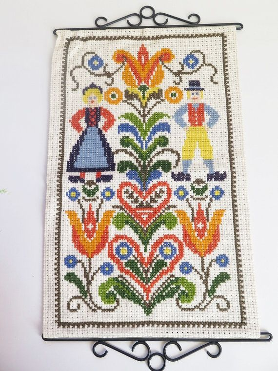 Vintage Embroidered Wall Decor Swedish by vintageTEXTILESdecor