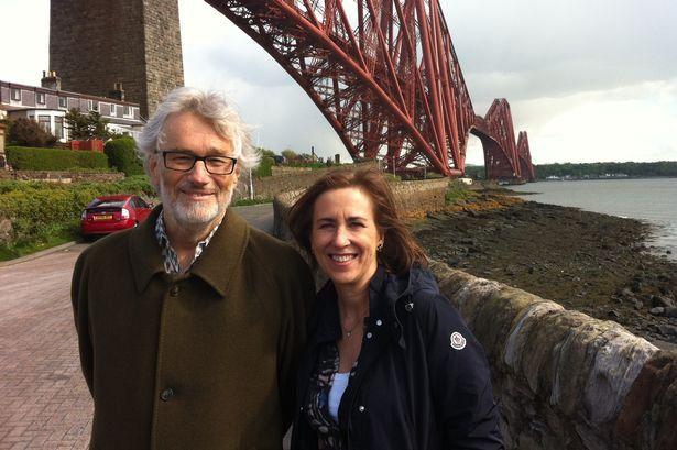 Iain Banks and Kirsty Wark at the Forth Bridge. (2013) - BBC
