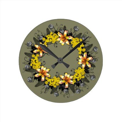 "Wreath ""Yellow Yellow"" Flowers Floral Clock - floral style flower flowers stylish diy personalize"