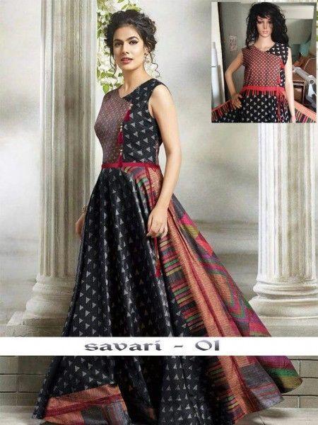 743c5e615558 Indian Bollywood Designer indo western gown Kurta Kurti women ethnic dress  -sr05