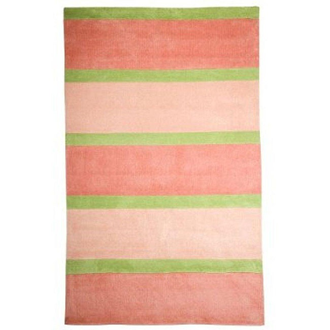 Pink And Green Striped Area Rug