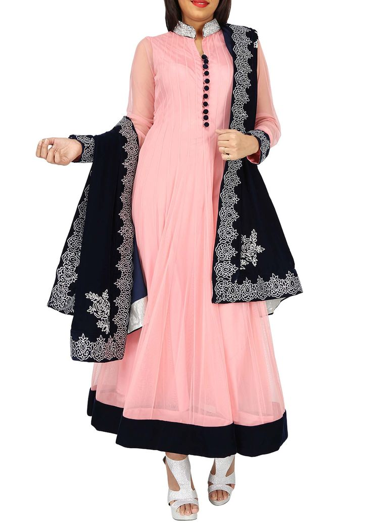 Pink anarkali suit matched with contrast black embroidered dupatta only on Kalki