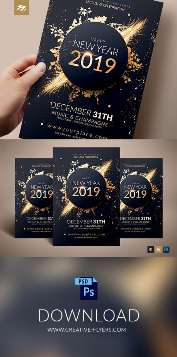 New Year Invitation Template For Photoshop Ready To Print Download Flyertemplate Newyear Newyea Invitation Flyer New Year Card Design Invitation Template