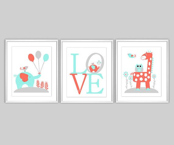 Coral+Baby+Nursery+Wall+Art+Aqua+Coral+Gray+LOVE+by+dezignerheart,+$25.00