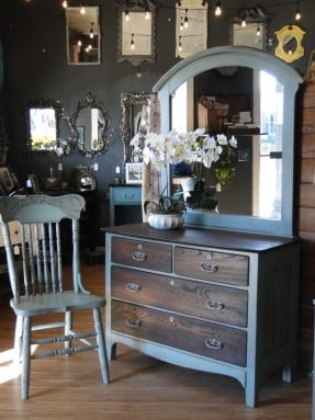 This small oak dresser has been stained dark on the top and drawers, the case painted in a subtle sea-glass color and the coolest pulls EVER in aged Nickel. Mirror is separate and kinda big for this piece but I think it works! Oak side chair also in Sea-g
