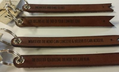 Key Fob - FORJ SAYINGS - Leather. Inspiring phrases stamped into premium vegetable tanned leather to create a keepsake with meaning that will appeal to men and women.