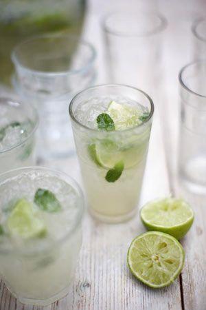 Jamie Oliver's Caipirinha Drink - fresh mint, lemon, sugar & Brazilian liqour.