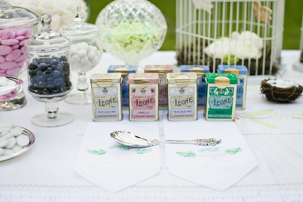 candy buffet, tin, vintage wedding