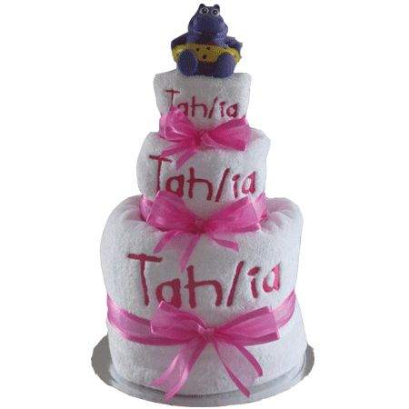 Personalised bath time nappy cake.girl.