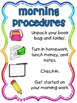 Free morning procedures poster