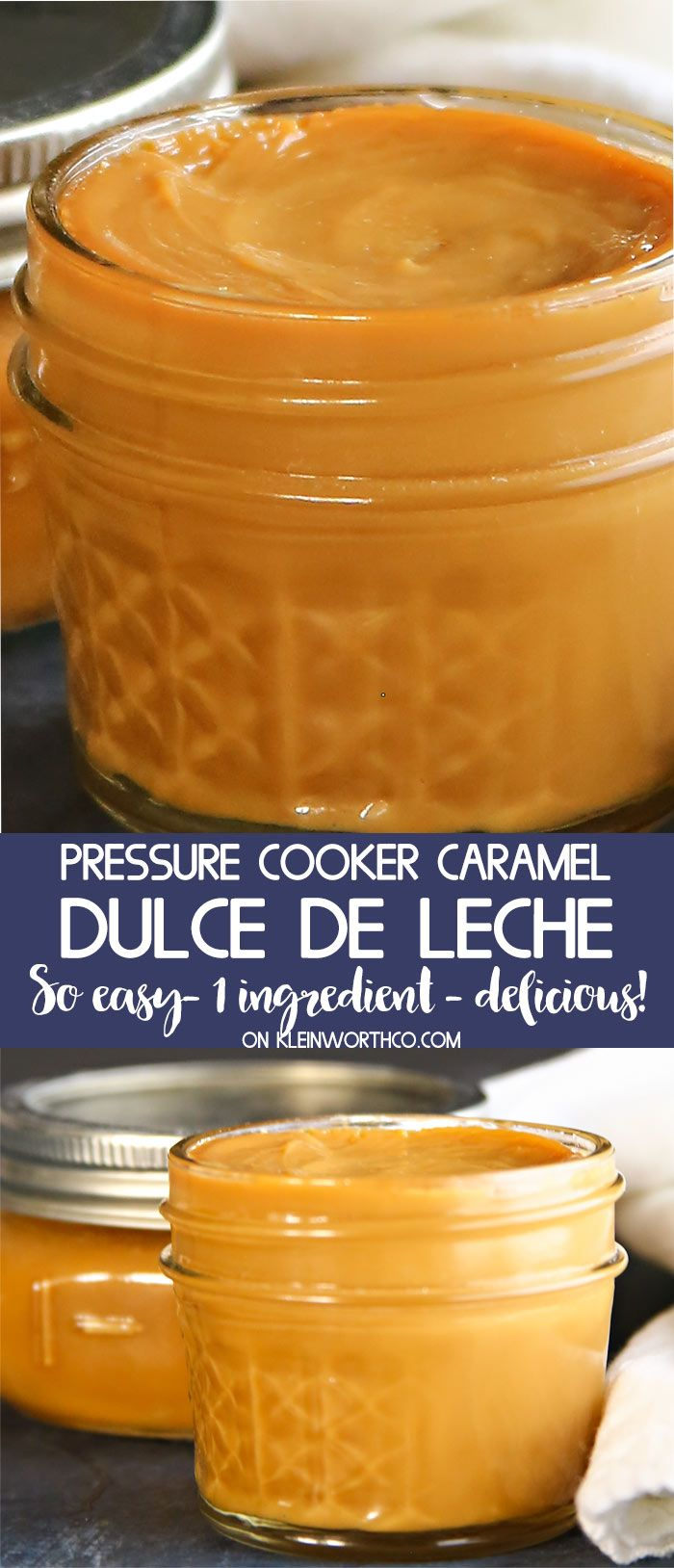If you love homemade caramel, then you will swoon over this Pressure Cooker Caramel Dulce de Leche recipe. Simple to make & only takes 1 ingredient. #instantpot #caramel #pressurecooker #dulcedeleche