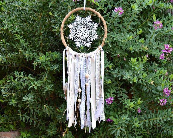 Atrapasue os r stico arpillera encaje blanco y natural for Decoracion hogar hippie
