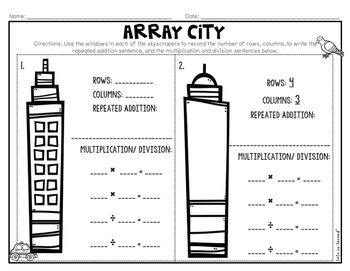 Array City Multiplication and Division Craft and