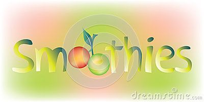 #Smoothies #word with the #O #letters made as a #pair of #round #fruits: one colored in red and the other one in green, both bound by a #branch with a single #leaf, on colorful background