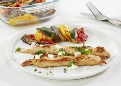 Tian van Provençaalse groenten met kalkoenenreepjes en feta -  Recept » Colruyt Culinair