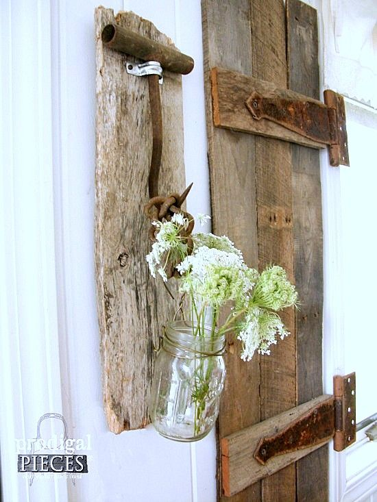 Barn wood and rusty tool sconce by Prodigal Pieces, featured on Funky Junk Interiors