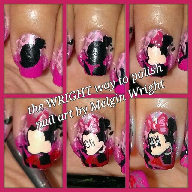 Minnie inspired- Hand painted nail art. Painted with Nail polish and acrylic paint by Melgin Wright  http://www.facebook.com/TheWrightWayToPolishNailArtByMelginWright  http://pinterest.com/melginswright/boards/