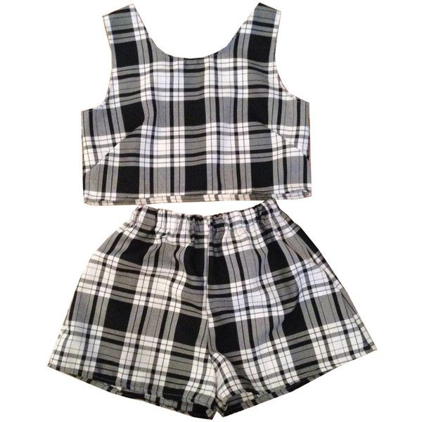 Black and White Tartan Plaid Shorts Two Piece Co-ord Check Womens... (61 CAD) ❤ liked on Polyvore featuring shorts, dresses, tops, two piece, checked shorts, highwaist shorts, plaid shorts, checkered shorts and tartan shorts