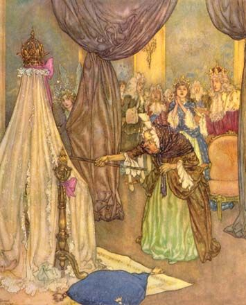 The baby princess is cursed - Sleeping Beauty; Quiller-Couch, Sir Arthur. The Sleeping Beauty and Other Tales From the Old French. Edmund Dulac, illustrator. New York: Hodder & Stoughton, 1910.