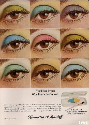 Your daily dose of color: Vintage Advertising for Alexandra de Markoff Eye Shadow | 1966