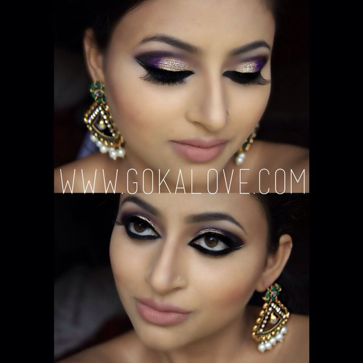 Arabic Style Makeup Gold And Purple With Some Glitter Boston Indian Stani Artist