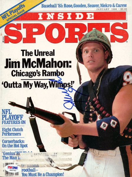 This is a Magazine Cover that has been hand signed by Jim McMahon. It has been authenticated by PSA/DNA and comes with their sticker and matching certificate of authenticity.