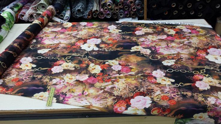 724. Seda de poliéster flores y cadenetas rosas, marrones y amarillas (1,50 mt ancho) @MA