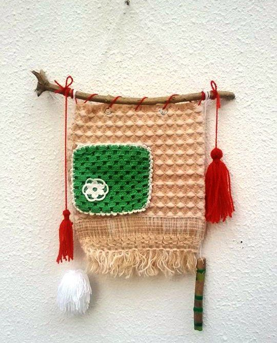 SALES PRICE Textile Wall Hanging,Vintage Crochet Decor, Hippie Decor, Boho Wall Decor, Orange Green White Wall Hanging,Bohemian Wall Decor by LIMASCRAFTS on Etsy