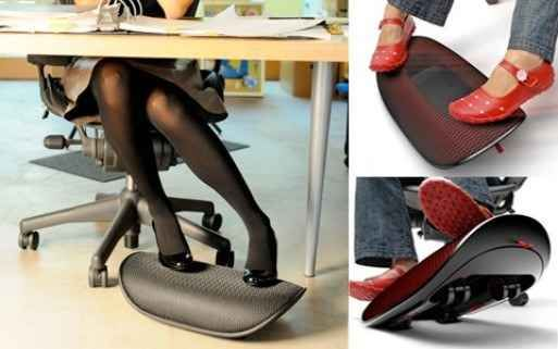 """Get an """"active footrest"""" to keep your legs from getting cramped. 