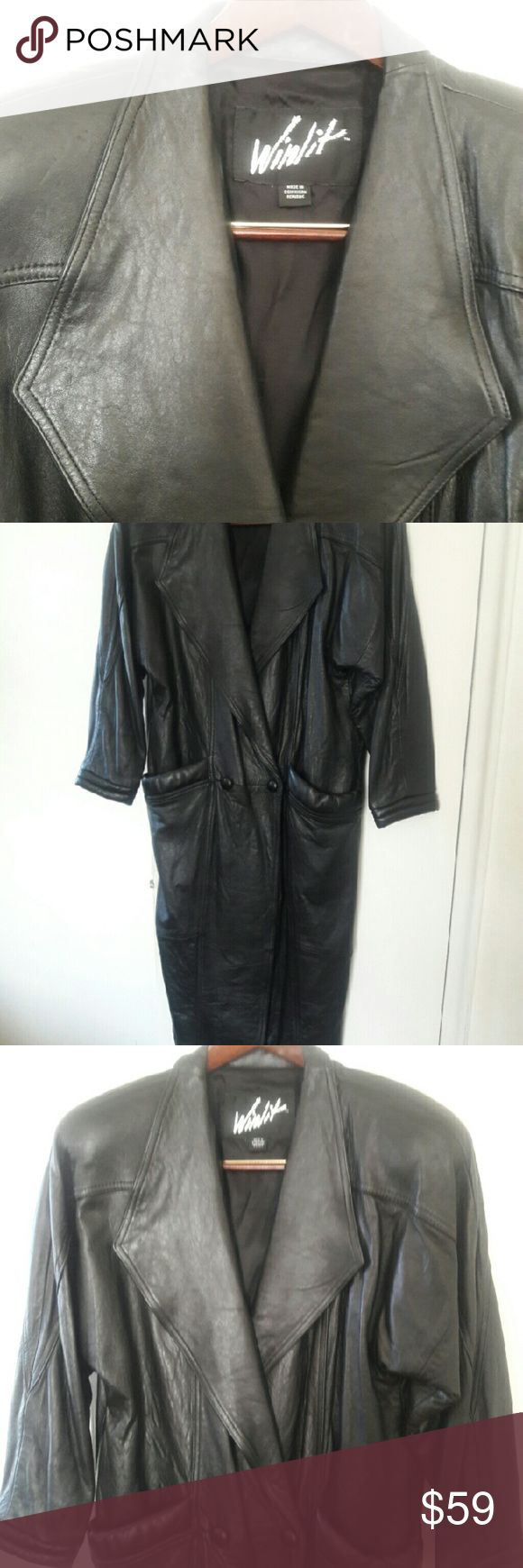 Full-length black woman's leather coat by Winlit. Great condition,  like new. Authentic Original Vintage Style Jackets & Coats
