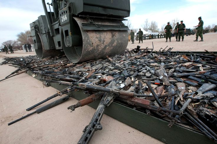 Guns seized by Mexican drug cartels are destroyed by the army.