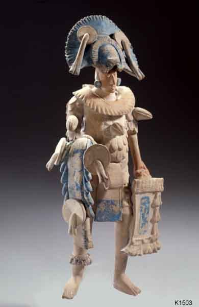 Late Classic (600-900 A.D.) Maya figurine, representing warrior wearing what I would argue are mushroom inspired headdress.