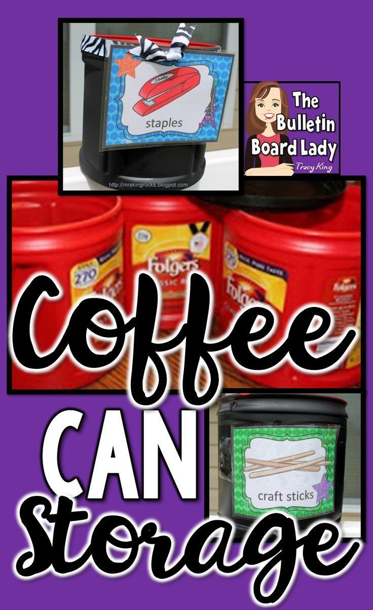 Organize your classroom, office or pantry with this clever idea!  Coffee can storage is cheap, convenient and completely customizable.  I use it to organize my supplies in my classroom, to store supplies to pass out and more.  Grab some spray paint and le