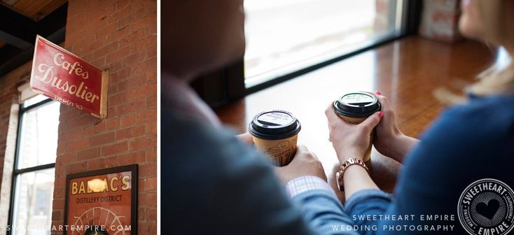 Coffee shop engagement photos, Toronto Balzac's Liberty Village. #sweetheartempirephotography