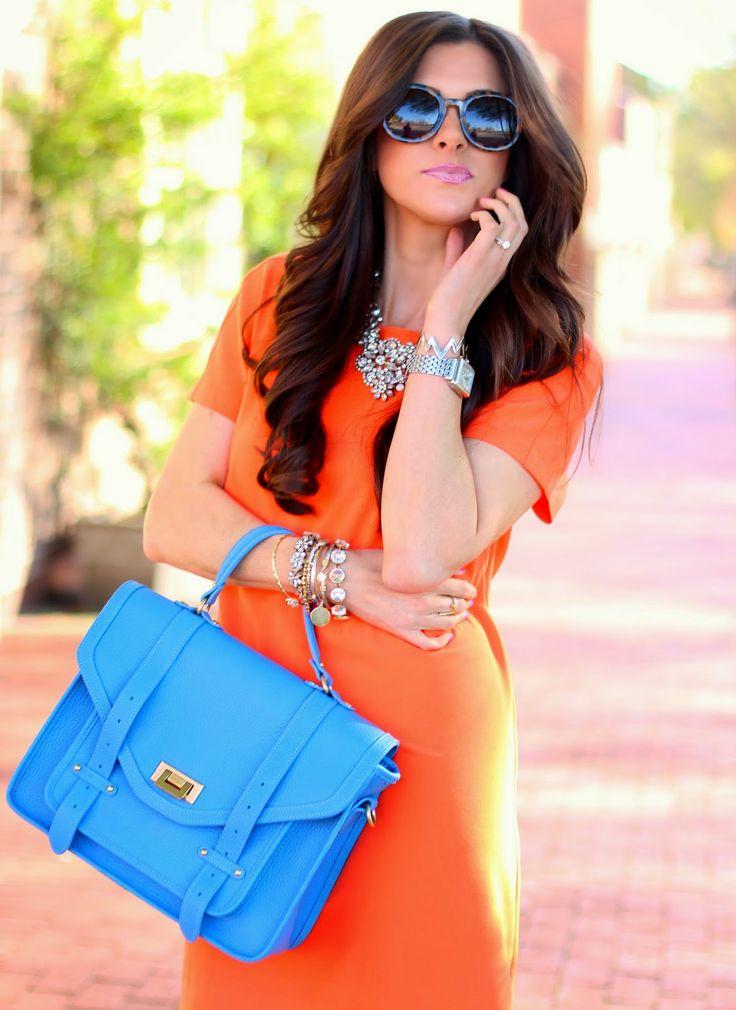 affordable orange shift dress