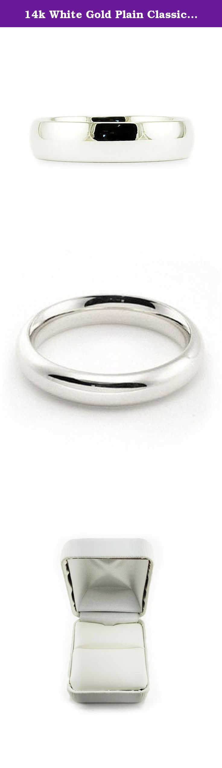 14k White Gold Plain Classic 4mm COMFORT FIT WEDDING BAND size 9. This beautiful classic band has a slightly rounded body, bright finish and is comfort fit. The comfort fit design features a rounded polished interior that allows the ring to slide easily and rest comfortably on the finger. Caring For Your Jewelry To keep your jewelry shining and scratch-free, avoid contact with harsh chemicals and chlorine. To clean gold jewelry, use warm water and a mild soap. We do not suggest using a…