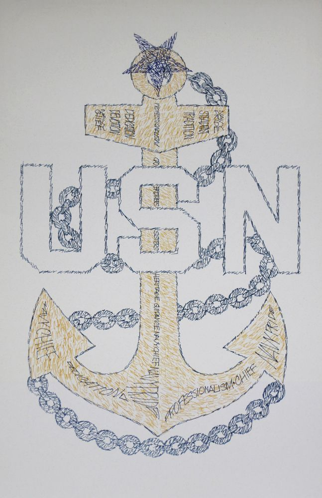 Navy Senior Chief Petty Officer CPO E8 Art, Retirement and Promotion Gifts. See http://drawdogs.com/product-category/us-navy-emblems/ for Artist Kline's lithograph drawn from the words Navy Chief, Navy pride, Dedication, Devotion, Steadfast, Guidance, Brothers, Sisters, Heritage, CPO, Tradition and Professionalism. #NavyChief