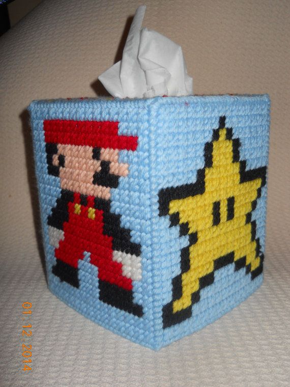 Everyone loves to play Super Mario, add this tissue box cover to any room of your house  or would make a great present    made by Lori