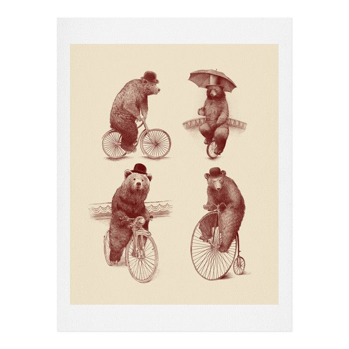 Eric Fan Bears on Bicycles Art Print | DENY Designs Home Accessories